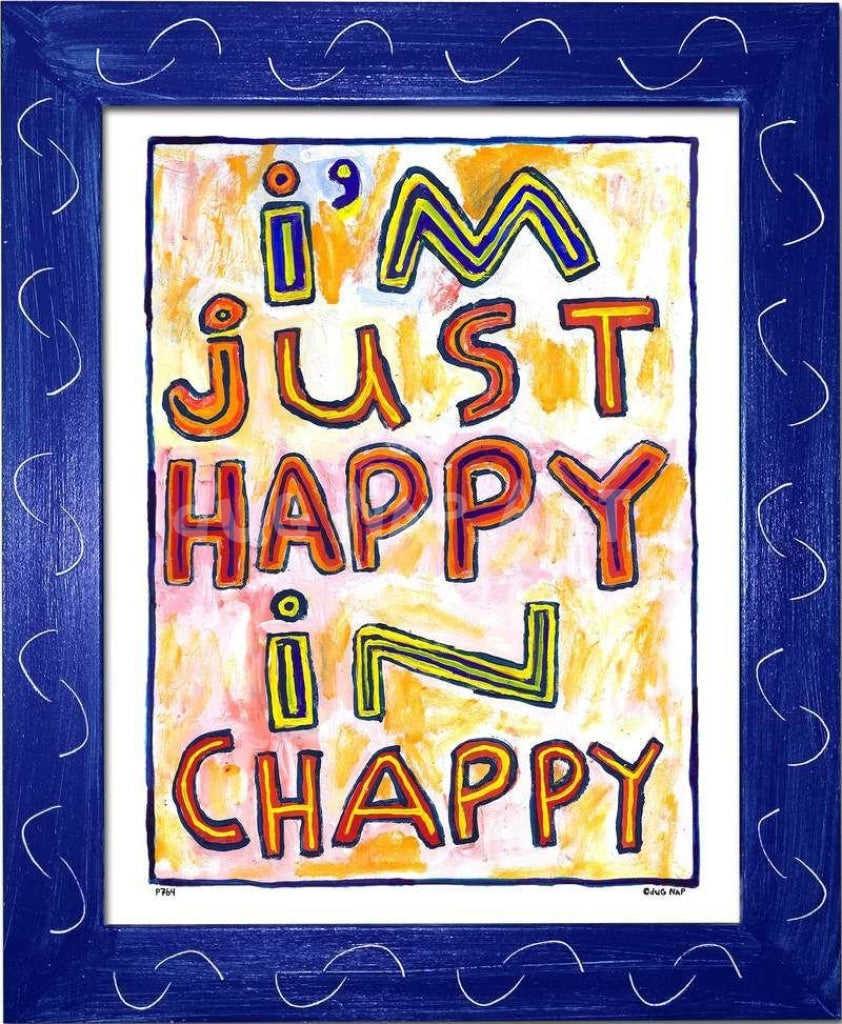 P764 - Happy In Chappy Framed Print / Small (8.5 X 11) Blue Art