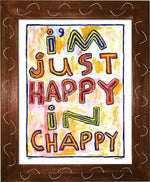 P764 - Happy In Chappy Framed Print / Small (8.5 X 11) Brown Art