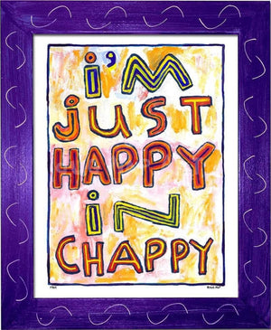 P764 - Happy In Chappy Framed Print / Small (8.5 X 11) Purple Art