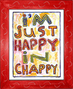 P764 - Happy In Chappy Framed Print / Small (8.5 X 11) Red Art