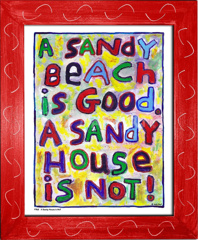 P768 - Sandy House Is Not Framed Print / Small (8.5 X 11) Red Art