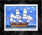 P770 - Sailing Into The Vineyard Framed Print / Small (8.5 X 11) Black Art