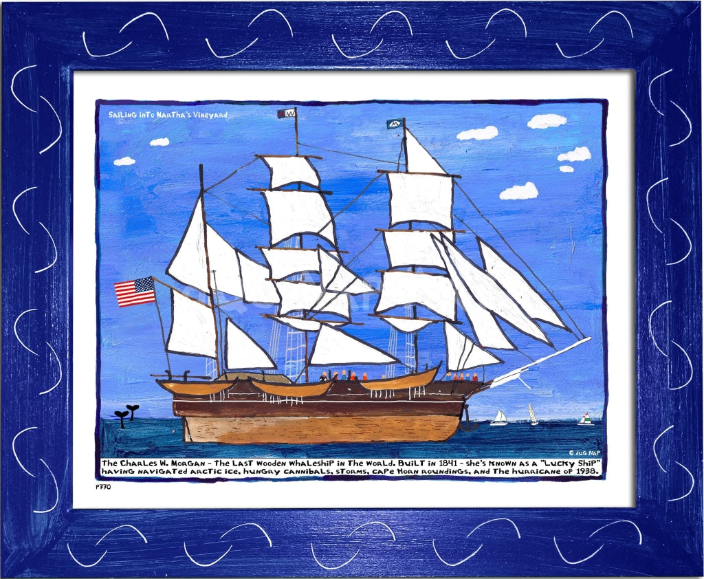 P770 - Sailing Into The Vineyard Framed Print / Small (8.5 X 11) Blue Art