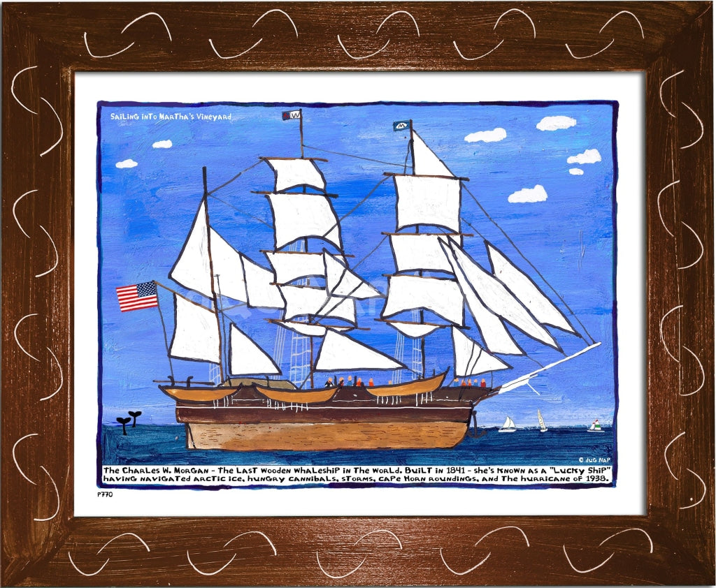 P770 - Sailing Into The Vineyard Framed Print / Small (8.5 X 11) Brown Art