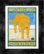 P776 - Golden Dog Watching Ball Framed Print / Small (8.5 X 11) Black Art