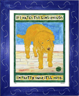 P776 - Golden Dog Watching Ball Framed Print / Small (8.5 X 11) Blue Art