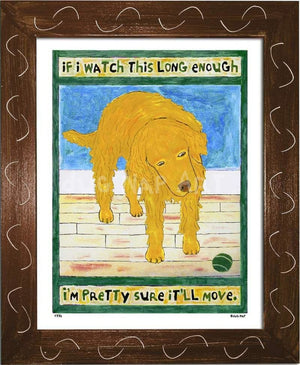 P776 - Golden Dog Watching Ball Framed Print / Small (8.5 X 11) Brown Art