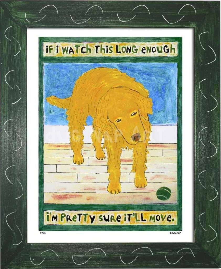 P776 - Golden Dog Watching Ball Framed Print / Small (8.5 X 11) Green Art