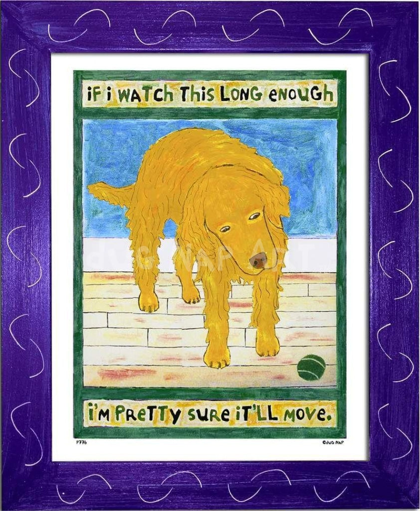 P776 - Golden Dog Watching Ball Framed Print / Small (8.5 X 11) Purple Art