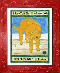 P776 - Golden Dog Watching Ball Framed Print / Small (8.5 X 11) Red Art