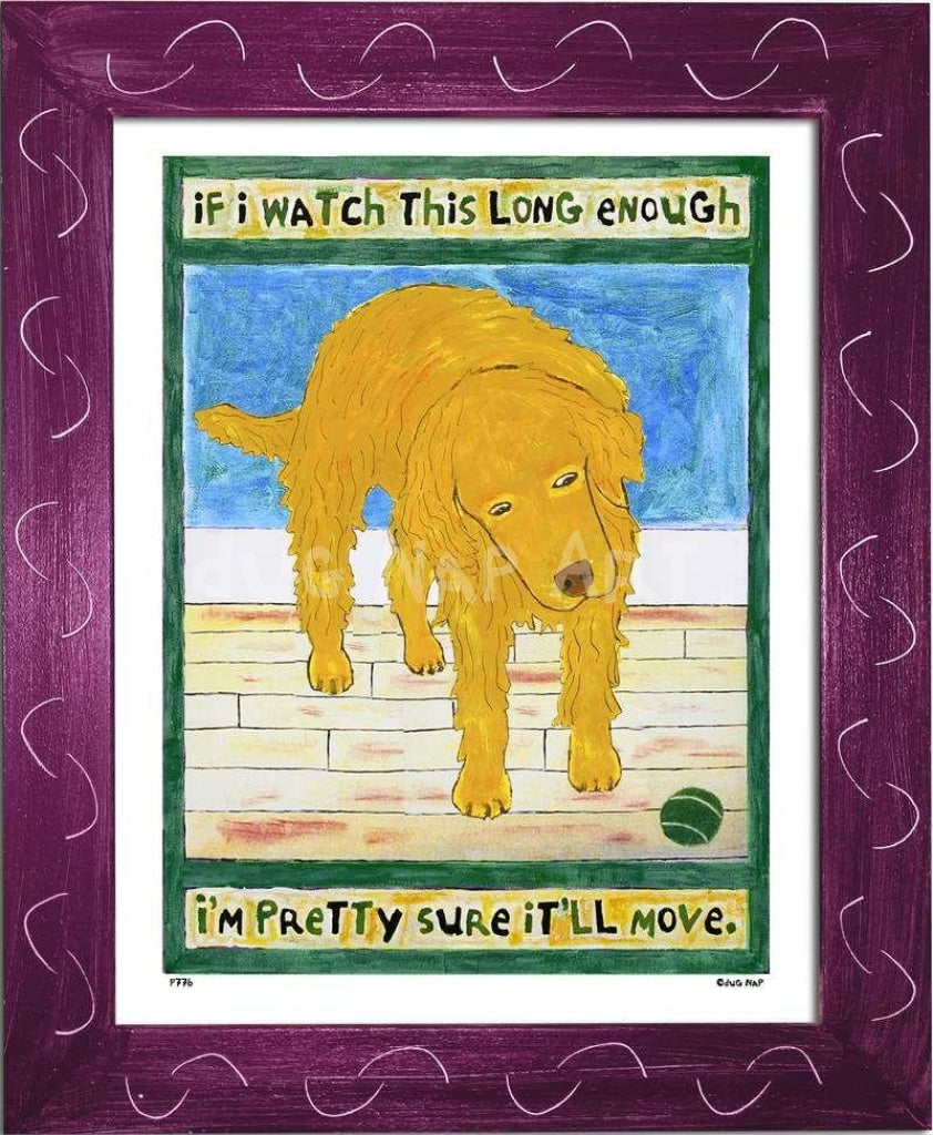 P776 - Golden Dog Watching Ball Framed Print / Small (8.5 X 11) Violet Art