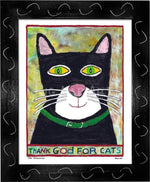 P778 - Thank God For Cats Framed Print / Small (8.5 X 11) Black Art