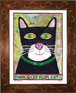 P778 - Thank God For Cats Framed Print / Small (8.5 X 11) Brown Art