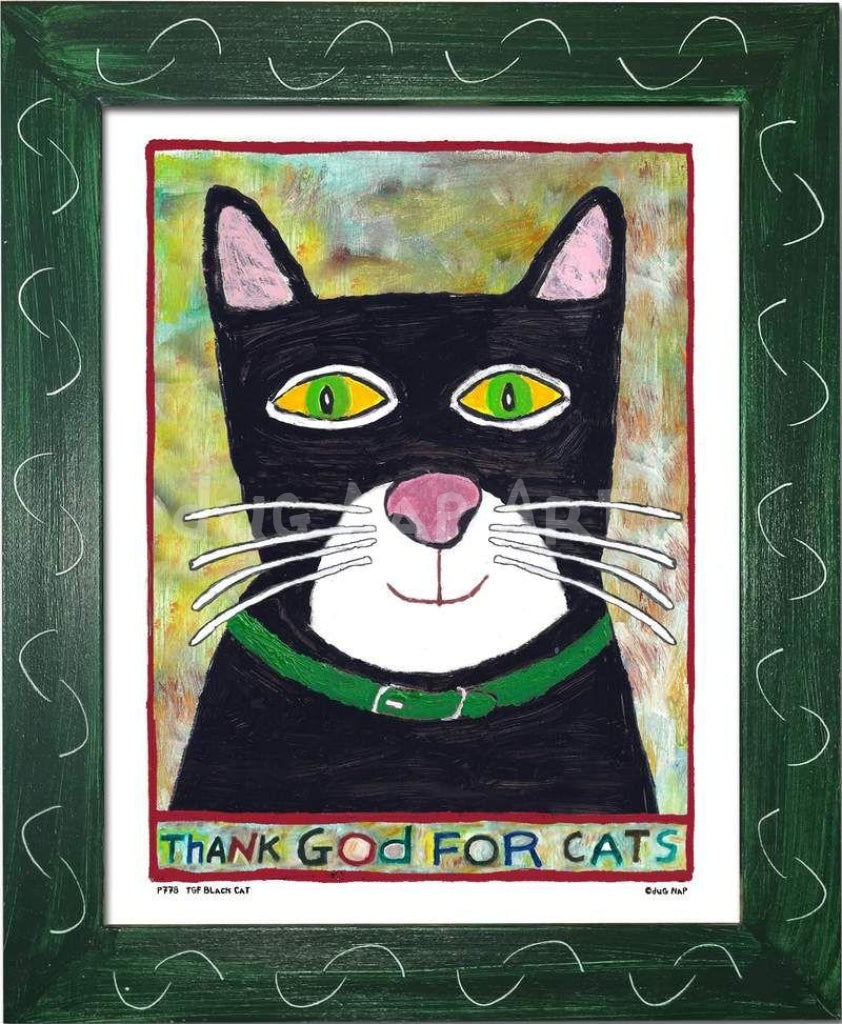 P778 - Thank God For Cats Framed Print / Small (8.5 X 11) Green Art