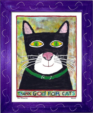 P778 - Thank God For Cats Framed Print / Small (8.5 X 11) Purple Art