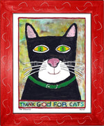 P778 - Thank God For Cats Framed Print / Small (8.5 X 11) Red Art