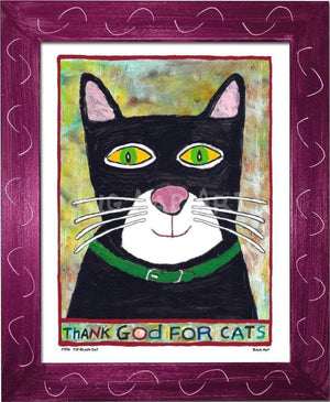 P778 - Thank God For Cats Framed Print / Small (8.5 X 11) Violet Art