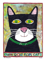 P778 - Thank God For Cats Unframed Print / Big (16 X 20) No Frame Art