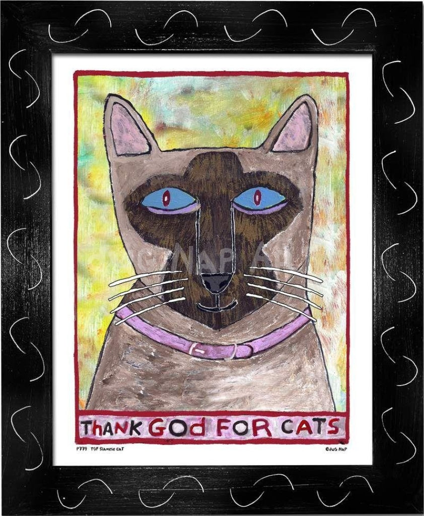 P779 - Thank God For Siamese Cats Framed Print / Small (8.5 X 11) Black Art