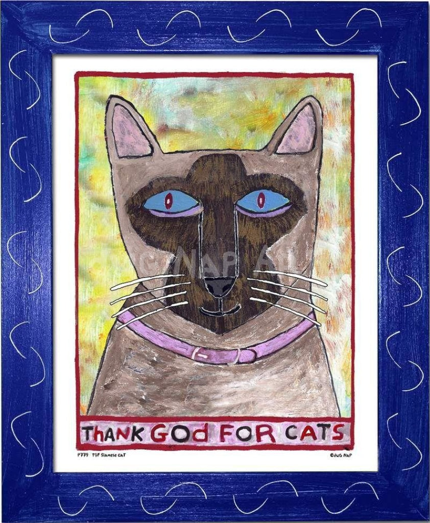 P779 - Thank God For Siamese Cats Framed Print / Small (8.5 X 11) Blue Art