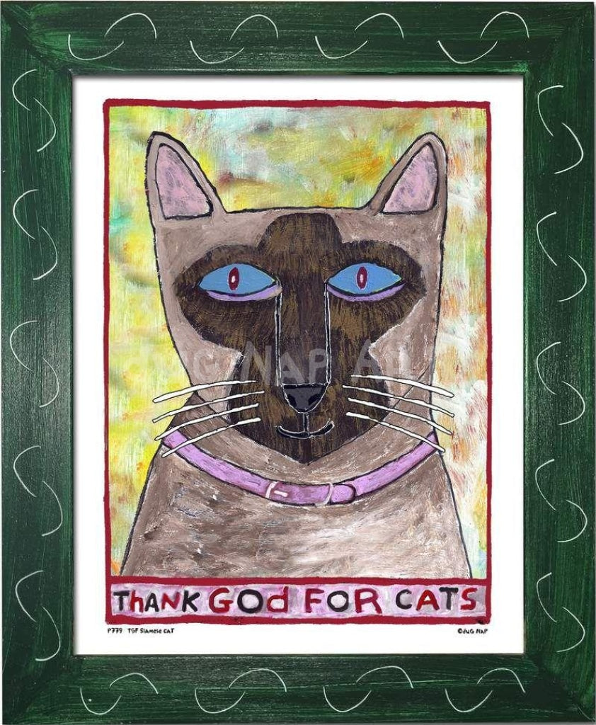 P779 - Thank God For Siamese Cats Framed Print / Small (8.5 X 11) Green Art
