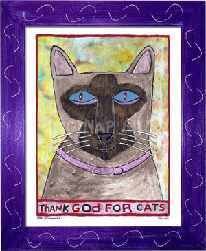 P779 - Thank God For Siamese Cats Framed Print / Small (8.5 X 11) Purple Art
