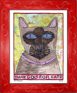 P779 - Thank God For Siamese Cats Framed Print / Small (8.5 X 11) Red Art