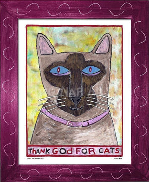 P779 - Thank God For Siamese Cats Framed Print / Small (8.5 X 11) Violet Art