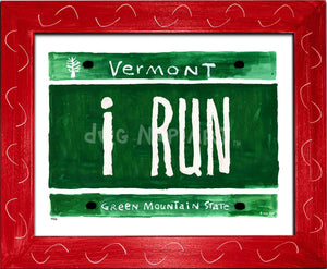 P816 - I Run Plate Framed Print / Small (8.5 X 11) Red Art