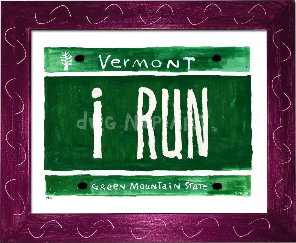 P816 - I Run Plate Framed Print / Small (8.5 X 11) Violet Art