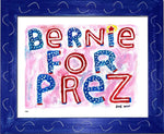 P837 - Bernie For Prez Framed Print / Small (8.5 X 11) Blue Art
