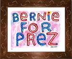 P837 - Bernie For Prez Framed Print / Small (8.5 X 11) Brown Art