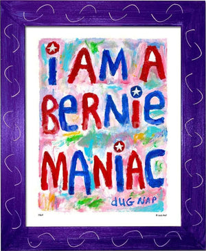 P867 - Bernie Maniac Framed Print / Small (8.5 X 11) Purple Art