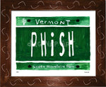 P882 - Vt Plate Phish Framed Print / Small (8.5 X 11) Brown Art