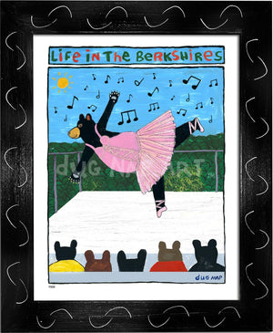 P883 - Berkshire Dancing Bear Framed Print / Small (8.5 X 11) Black Art