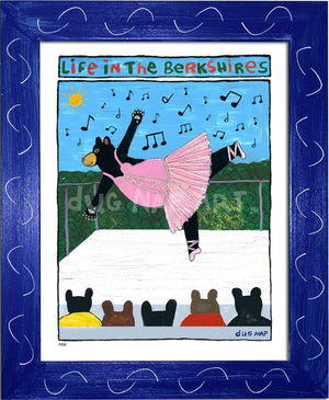 P883 - Berkshire Dancing Bear Framed Print / Small (8.5 X 11) Blue Art