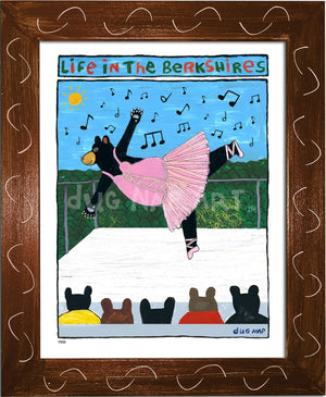 P883 - Berkshire Dancing Bear Framed Print / Small (8.5 X 11) Brown Art