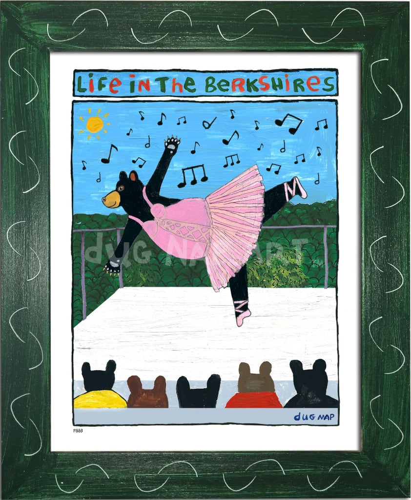 P883 - Berkshire Dancing Bear Framed Print / Small (8.5 X 11) Green Art