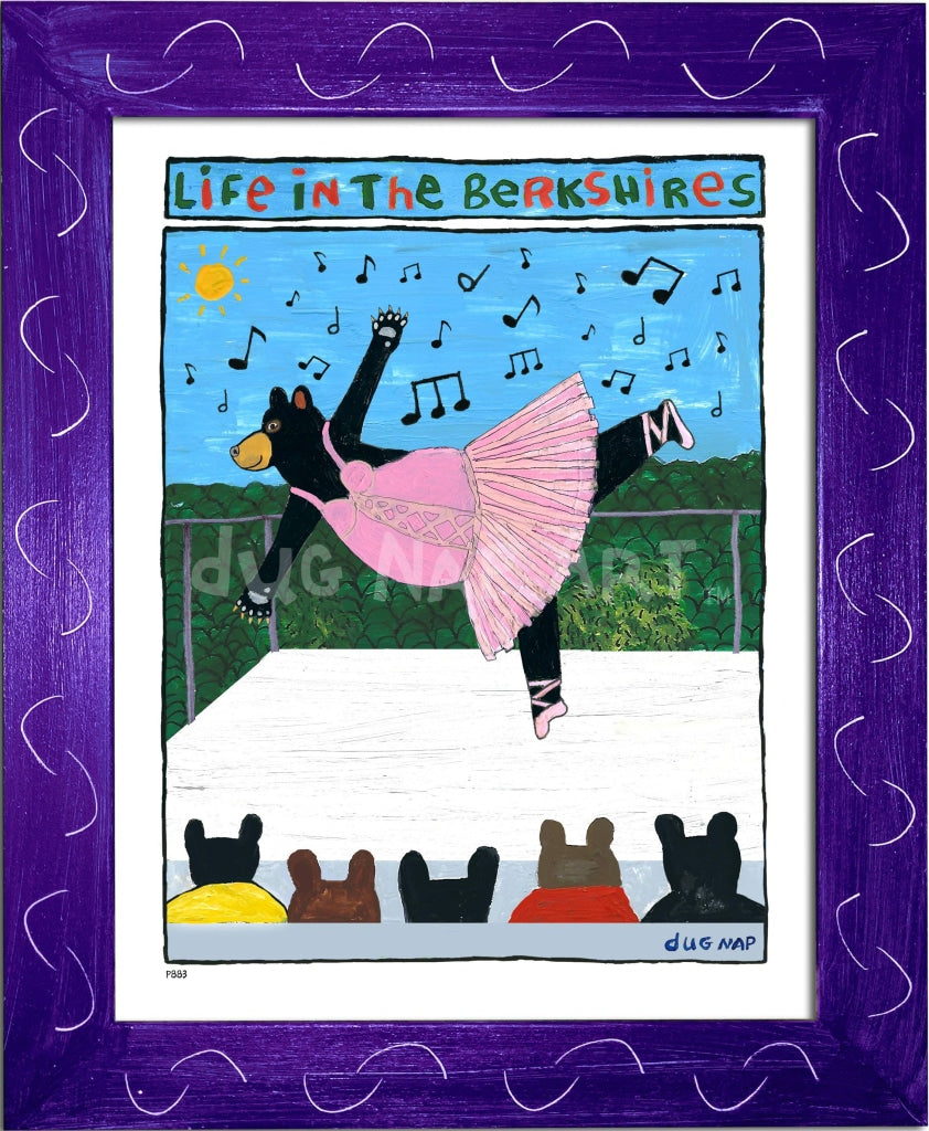 P883 - Berkshire Dancing Bear Framed Print / Small (8.5 X 11) Purple Art