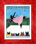 P883 - Berkshire Dancing Bear Framed Print / Small (8.5 X 11) Red Art