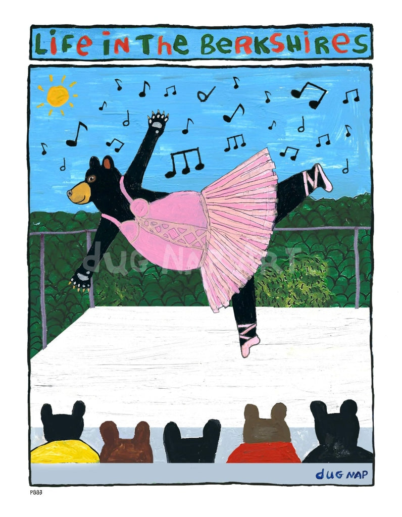 P883 - Berkshire Dancing Bear Unframed Print / Big (16 X 20) No Frame Art