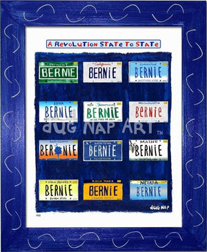 P915 - Bernie States Framed Print / Small (8.5 X 11) Blue Art