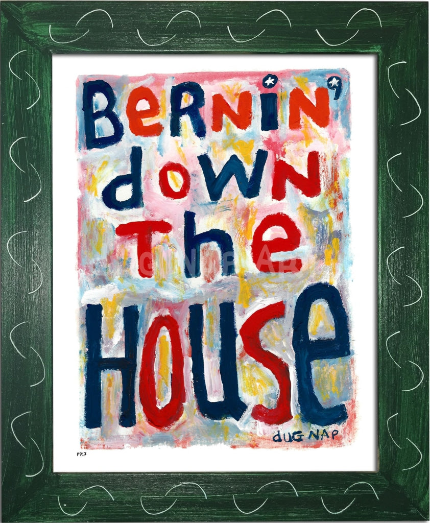P917 - Bernin Down The House Framed Print / Small (8.5 X 11) Green Art