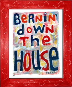 P917 - Bernin Down The House Framed Print / Small (8.5 X 11) Red Art