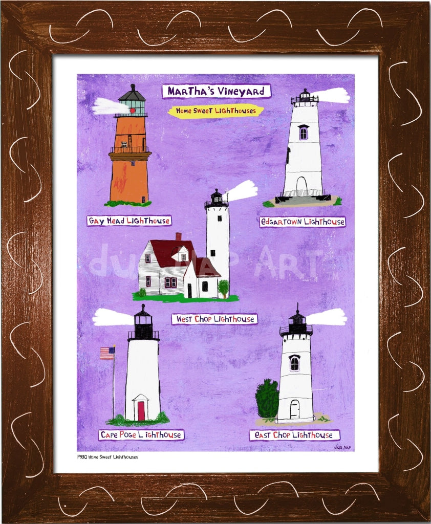 P930 - Mv Home Sweet Lighthouses Framed Print / Small (8.5 X 11) Brown Art