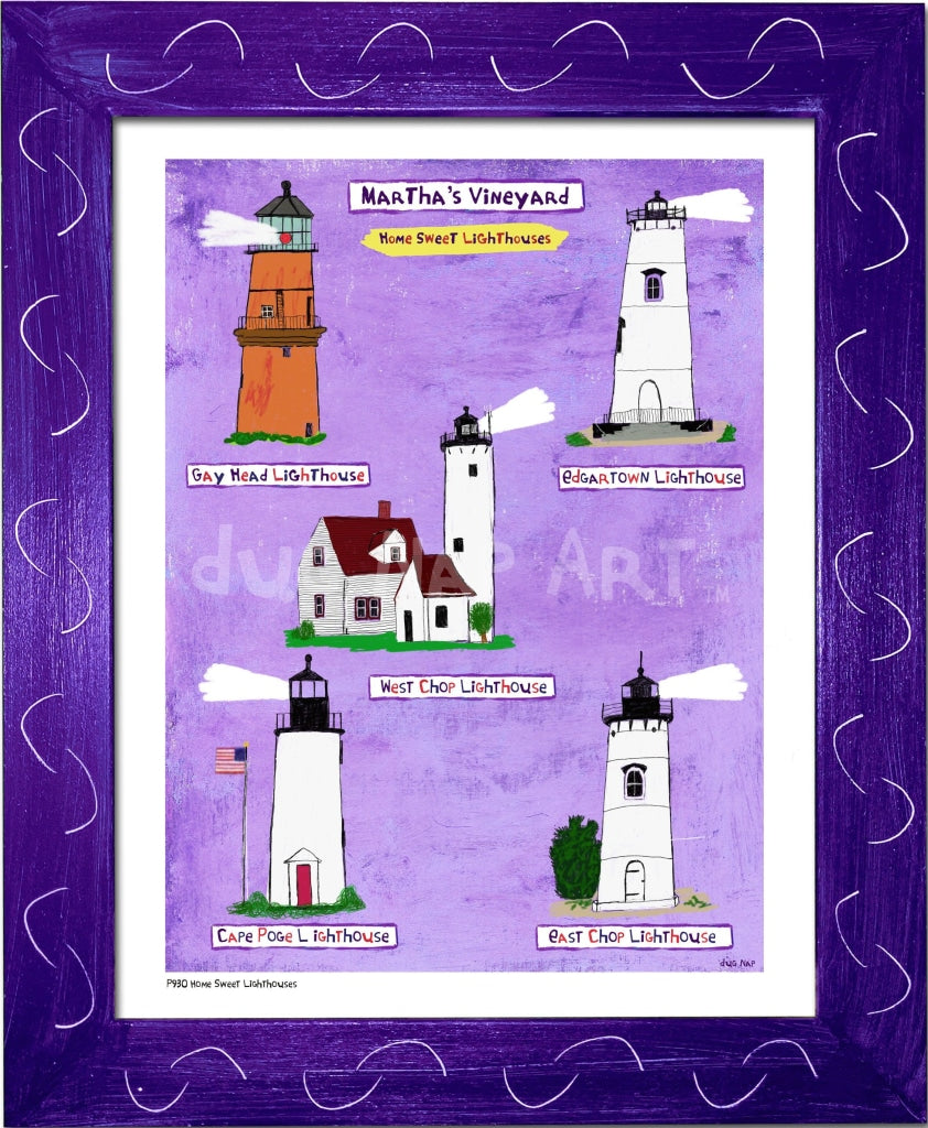 P930 - Mv Home Sweet Lighthouses Framed Print / Small (8.5 X 11) Purple Art