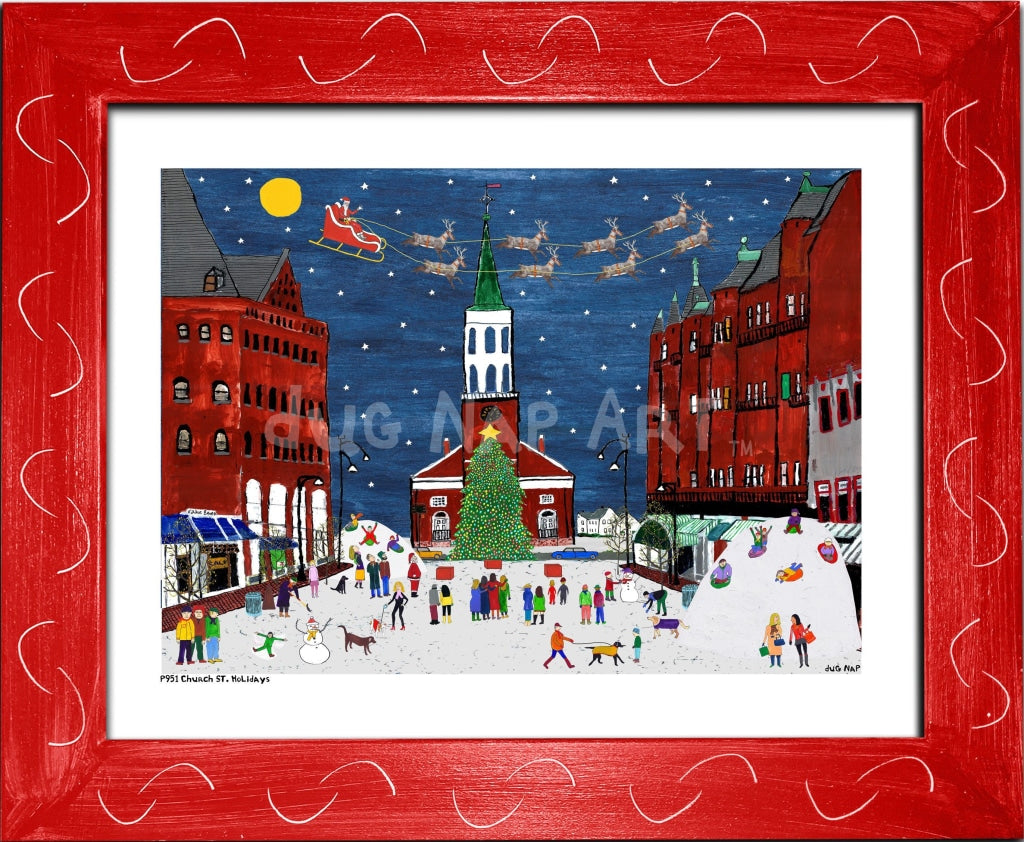 P951 - Church St. Holidays Framed Print / Small (8.5 X 11) Red Art