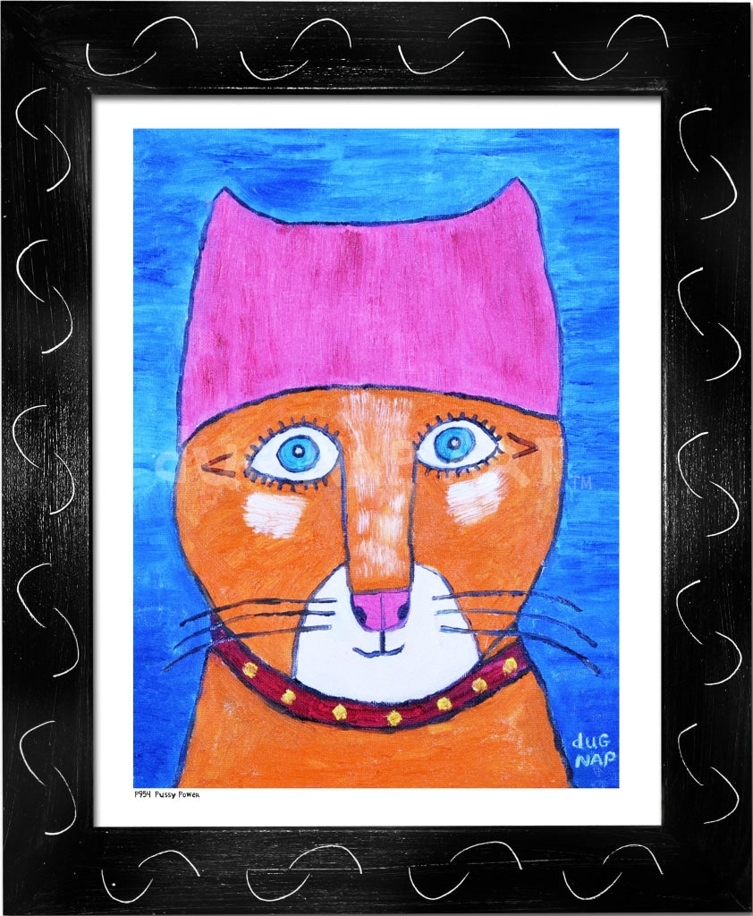 P954 - Pussy Power Framed Print / Small (8.5 X 11) Black Art