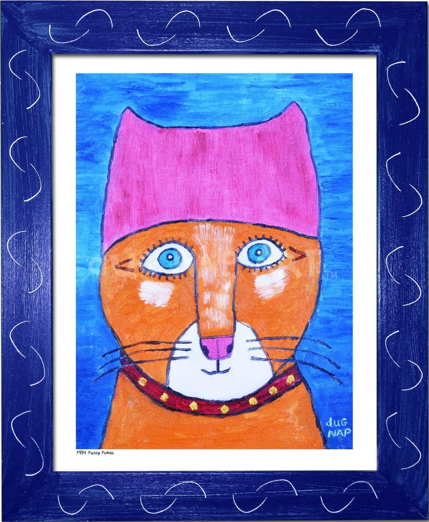 P954 - Pussy Power Framed Print / Small (8.5 X 11) Blue Art