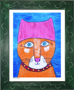 P954 - Pussy Power Framed Print / Small (8.5 X 11) Green Art